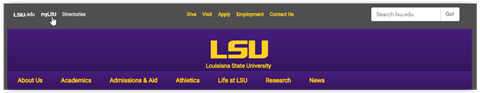 LSU.edu navigation bar